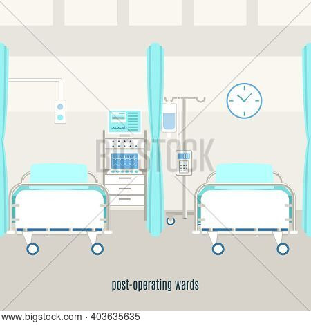 Medical Post-operating Recovery Ward Equipment And Accessories With Monitors For Patient Supervision