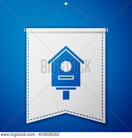 Blue Bird House Icon Isolated On Blue Background. Nesting Box Birdhouse, Homemade Building For Birds