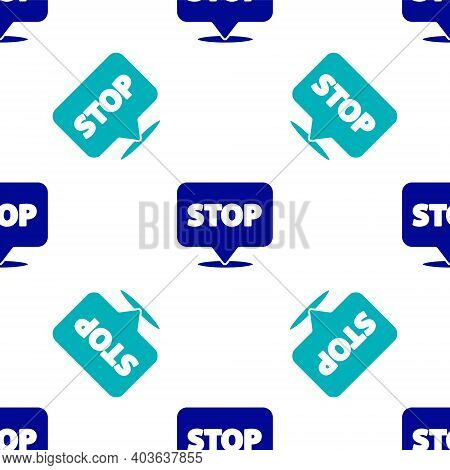 Blue Protest Icon Isolated Seamless Pattern On White Background. Meeting, Protester, Picket, Speech,