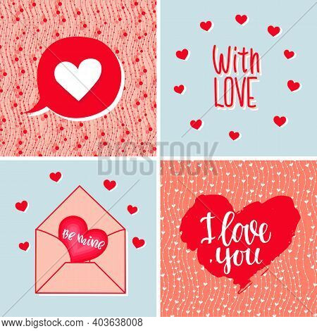 A Set Of Backgrounds With Hearts, Letters And Text. Valentine's Day, Wedding, Birthday. Vector Illus
