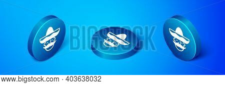 Isometric Mexican Man Wearing Sombrero Icon Isolated On Blue Background. Hispanic Man With A Mustach