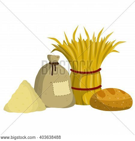 Sheaf Of Hay. Countryside Is A Stack Of Wheat Ears. Village Harvest. Production Of Natural Food On F