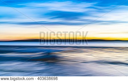 Colorful Fun Evoking Coastal Morning Light Intriguing Impressionist Style Image Using Intentional Ca