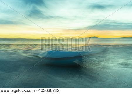 Colorful Coastal Evocative And  Intriguing Impressionist Style Image  With Brush Stroke Painterly Ef
