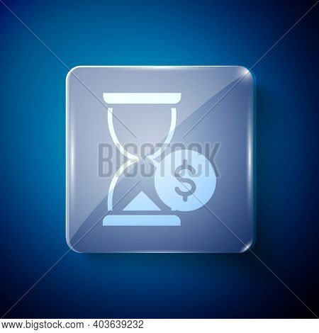 White Hourglass With Dollar Icon Isolated On Blue Background. Money Time. Sandglass And Money. Growt