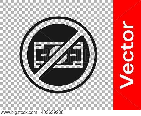 Black No Money Icon Isolated On Transparent Background. Prohibition Of Money. Vector