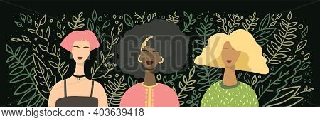 International Womens Day Horisontal Banner. Different Women Avatars On Black Background With Hand Dr