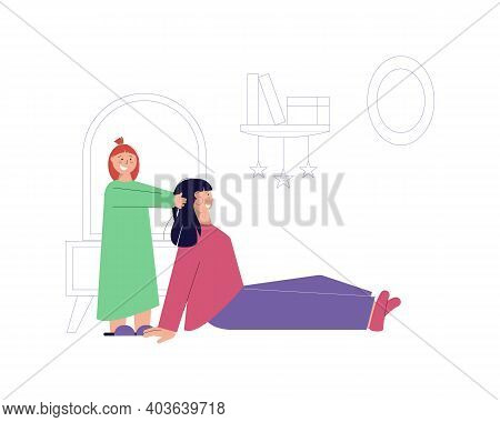 Happy Girl Playing With Her Nanny Flat Vector Illustration