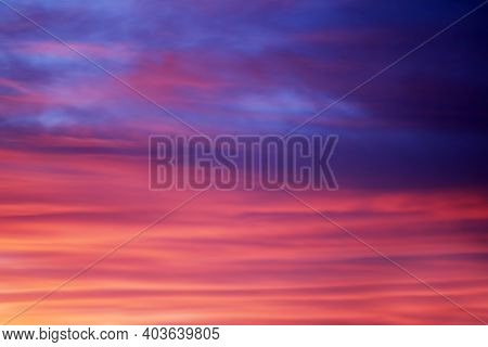 Blurry Background Of Sunset Sky With Pink And Blue Colorful Clouds. Sunset Sky. Sky Clouds. Romantic