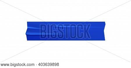 Blue Adhesive Tape Piece Stuck On White Background Realistic Vector Illustration
