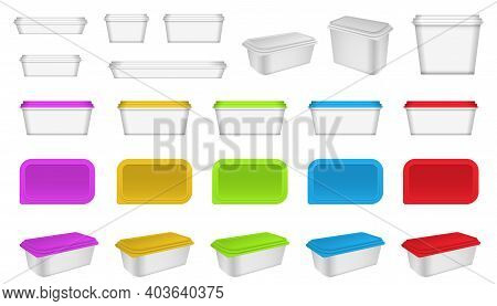 Set Of Realistic Plastic Container Packaging Or Plastic Food Container Mockup Or Realistic Blank Pla