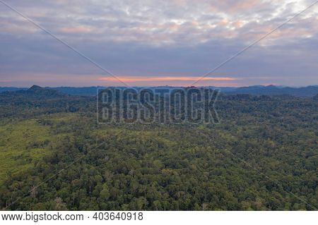 Aerial View Of National Park Green Field Mountains In Thung Yai Naresuan Wildlife Sanctuary, Umphang