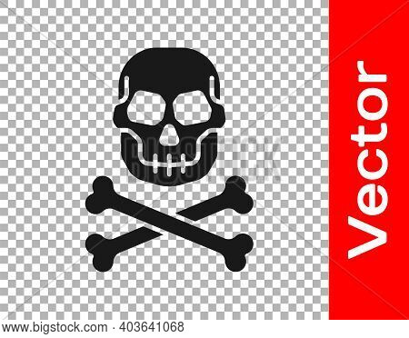 Black Skull On Crossbones Icon Isolated On Transparent Background. Happy Halloween Party. Vector