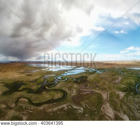 Aerial panorama sand desert Mongol Els and Zavkhan river