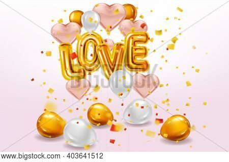 Happy Valentines Day, Love Gold Helium Metallic Glossy Balloons Realistic Text, Lettering, Heart Sha