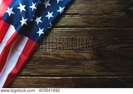 Martin Luther King Day Anniversary - American Flag On Wooden Background