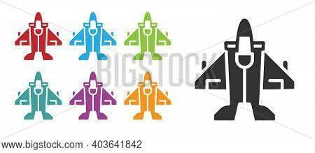 Black Jet Fighter Icon Isolated On White Background. Military Aircraft. Set Icons Colorful. Vector