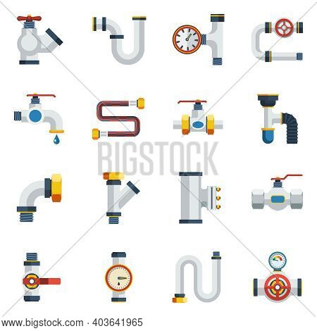 Pipes Icons Set. Pipes Vector Illustration.pipes Flat Symbols. Pipes Design Set. Pipes Elements Coll