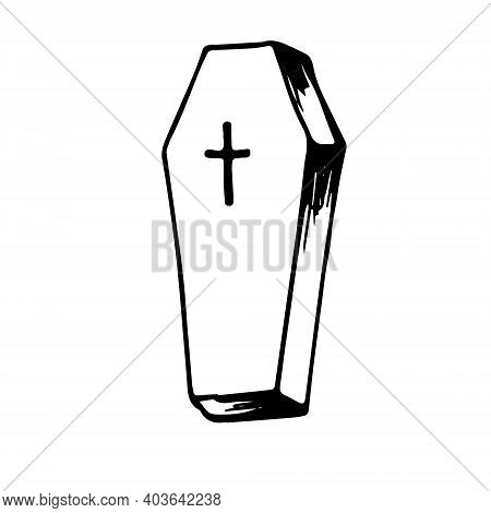 Closed Coffin With A Cross On The Lid. Hand Drawn Doodle Black Outline. Gloomy Scary Gothic Vampiric