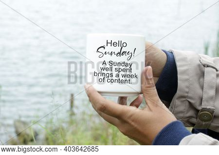 Relax Sunday Concept With White Coffee Cup In Young Woman Hands On Lake Sea Water Background And Ins