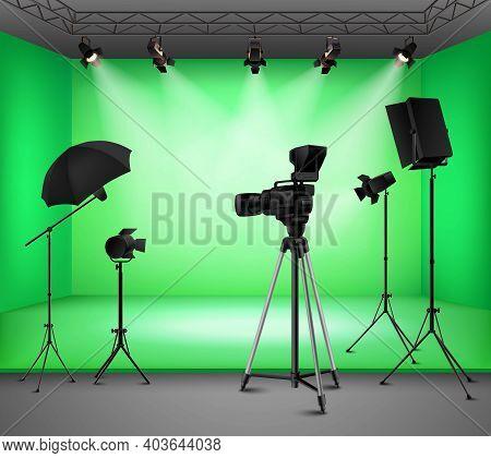Realistic Green Screen Studio Interior With Floodlight Kit Umbrella Camera And Softbox Vector Illust