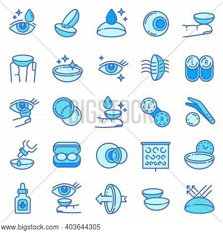 Contact Lens Icons Set. Outline Set Of Contact Lens Vector Icons For Web Design Isolated On White Ba