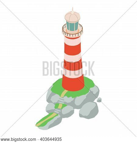 Lighthouse Icon. Isometric Of Lighthouse Vector Icon For Web Design Isolated On White Background
