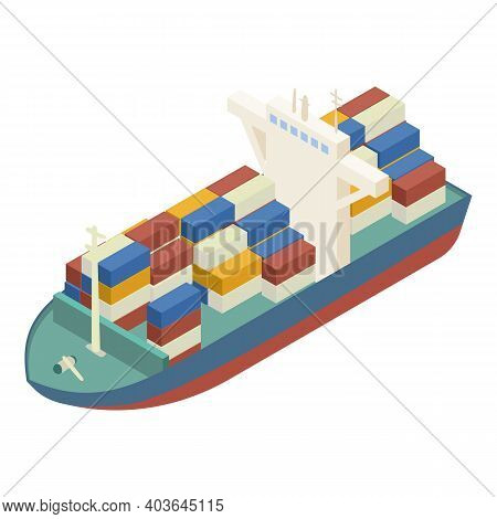 Container Ship Icon. Isometric Of Container Ship Vector Icon For Web Design Isolated On White Backgr