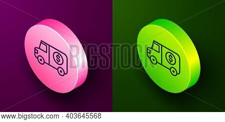 Isometric Line Armored Truck Icon Isolated On Purple And Green Background. Circle Button. Vector