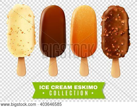 Ice Cream Collection Of Eskimo Pie With White Dark And Milc Varieties Of Chocolate Glaze At Transpar