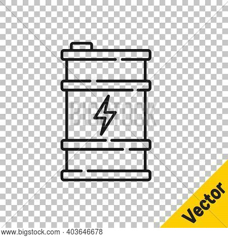 Black Line Bio Fuel Barrel Icon Isolated On Transparent Background. Eco Bio And Canister. Green Envi