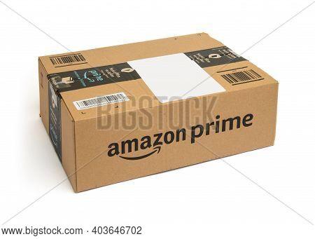 Amazon Prime Cargo Box On White Background.