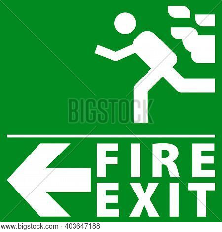 Sign Of An Emergency Or Fire Exit. Green Emergency Exit Sign. All In A Single Layer. Vector Illustra