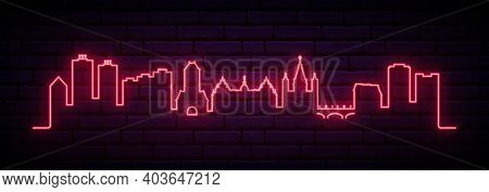 Red Neon Skyline Of Mainz. Bright Mainz City Long Banner. Vector Illustration.