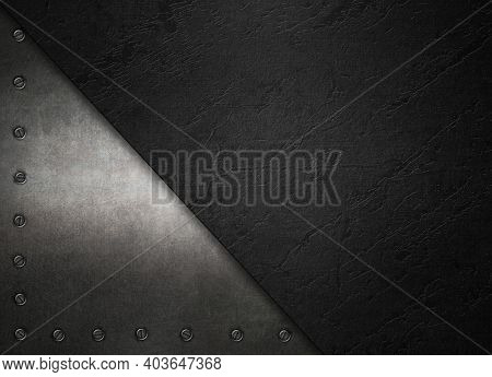 Old Steel Metal Plates With Rivets On A Black Background. Metal Texture For Design. 3d Illustration