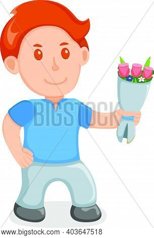 Cute Male Hold Gift Bouquet Flower, Concept Young Man With Present, Cartoon Vector Illustration, Iso