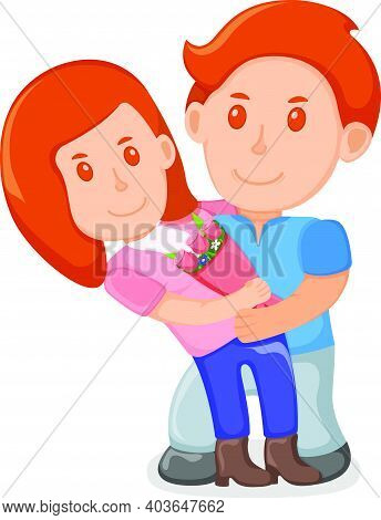 Young Lovely Male Character Holding Female On Arms, Lover People Couple, Standing Together Cartoon V