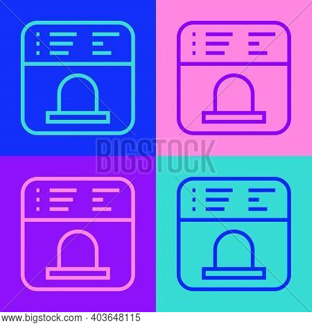 Pop Art Line Ticket Office To Buy Tickets For Train Or Plane Icon Isolated On Color Background. Buyi