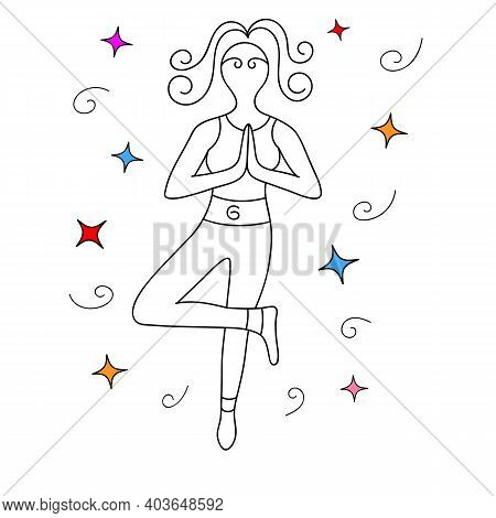 Linear Silhouette Of A Woman Doing Yoga While Standing On One Leg. Abstract Hairstyle And Decoration
