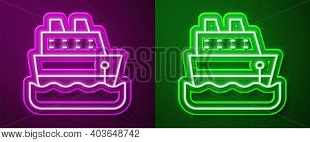 Glowing Neon Line Cruise Ship Icon Isolated On Purple And Green Background. Travel Tourism Nautical