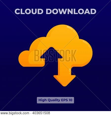 Yellow Cloud Download Icon Illustration With 3d Flat Style. Logo Design For Landing Page, Banner, We