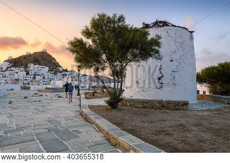 Ios, Greece - September 21, 2020: The Traditional Greek Windmill Of Ios Island In Beautiful Cycladic