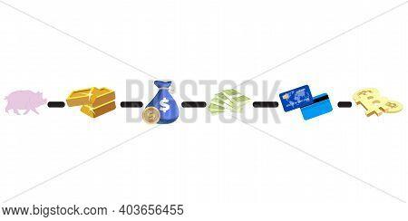 Evolution Money Cash Development, Exchange To Card And Bitcoin, Vector Evolution Sequence Step Progr