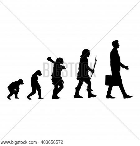 Human Evolution Black Silhouette, From Ape To Man. Vector Human Silhouette, Monkey And Caveman, Walk