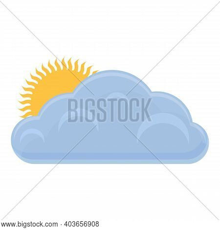 Sunny With Clouds Icon. Cartoon Of Sunny With Clouds Vector Icon For Web Design Isolated On White Ba