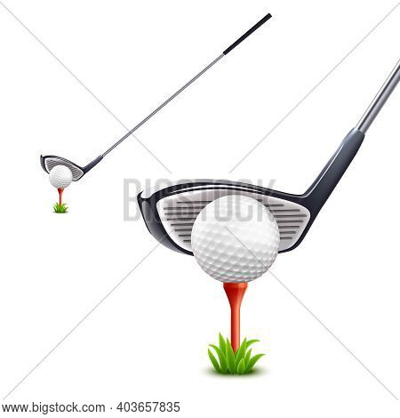 Golf Realistic Set With Ball Grass And Club Isolated Vector Illustration