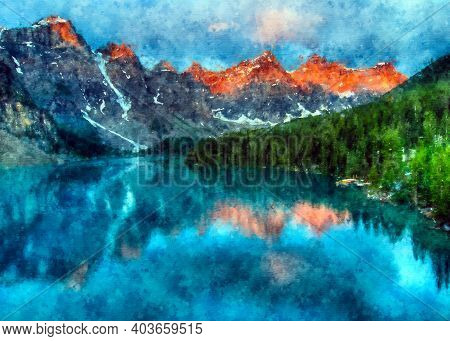 Acrylic Digital Painting Of Relaxing View Of Mountains In The Forest. Watercolor Painting Forests Tr