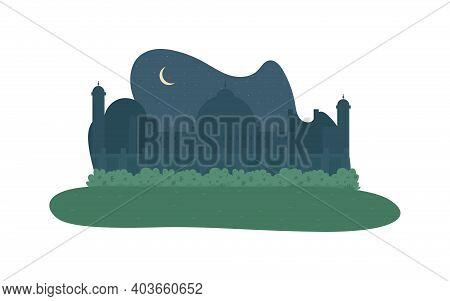 Minaret At Night 2d Vector Web Banner, Poster. Ramadan Celebration. Muslim Faith. Oriental Mosque Fl