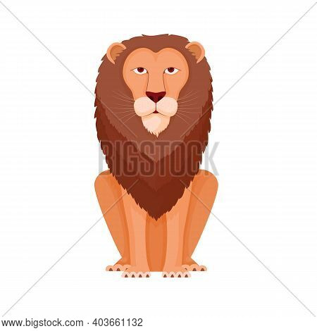 Lion Sitting Proudly. King Beasts With Luxurious