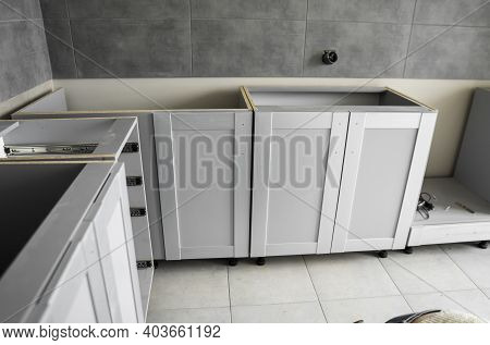 Lower Custom Kitchen Cabinets Installation With A Furniture Facades Mdf. Gray Modular Kitchen From C
